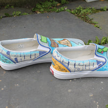 graffiti style writing custom designed Vans classic slip on sneakers