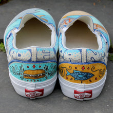 Phillu Cheesesteak and Fish marker custom designed Vans classic slip on sneakers PA CA