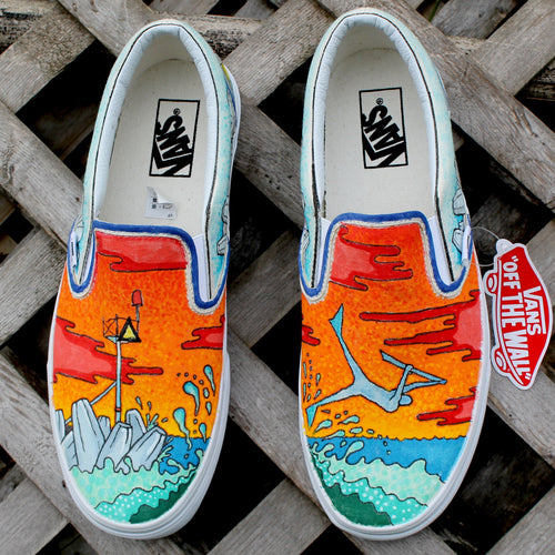 Bodyboarding custom Vans Slip On Sneakers - RadCakes Shirt Printing