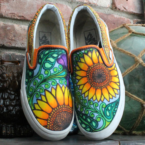 Beautiful yellow sunflower custom designed Vans classic slip on sneakers