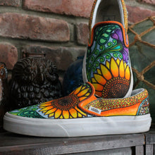 Cute pair of sunflower custom designed Vans classic slip on sneakers