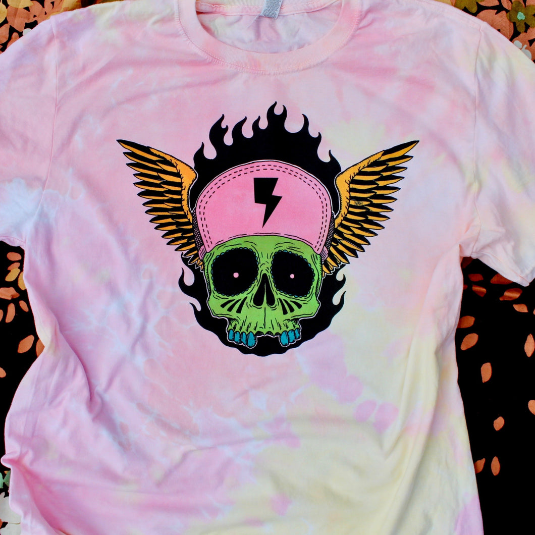 Tie Dyed Skull shirt for sale super soft punk hipster tattoo art on a t-shirt