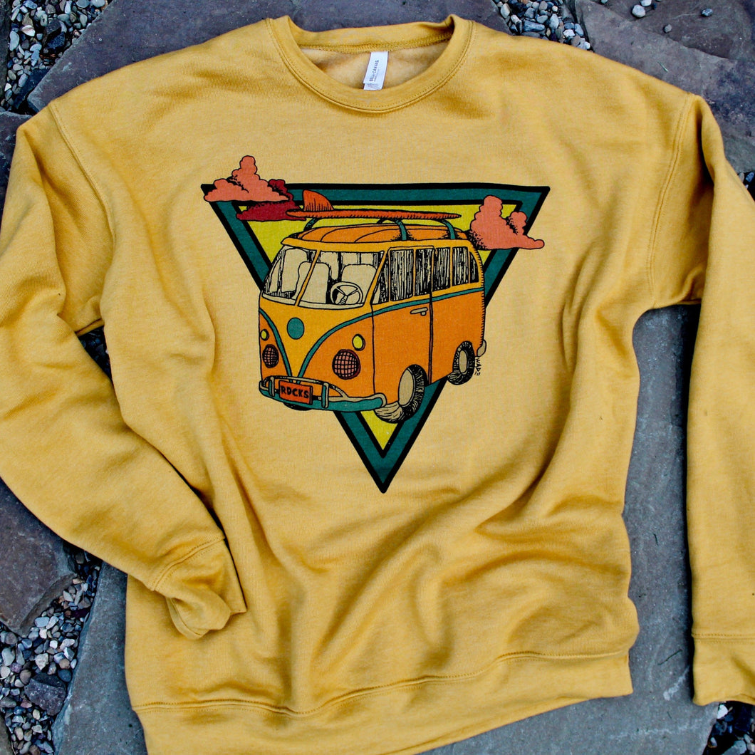 Bella Canvas 3945 Heather Mustard crewneck sweatshirt VW Surf Bus Camper artwork