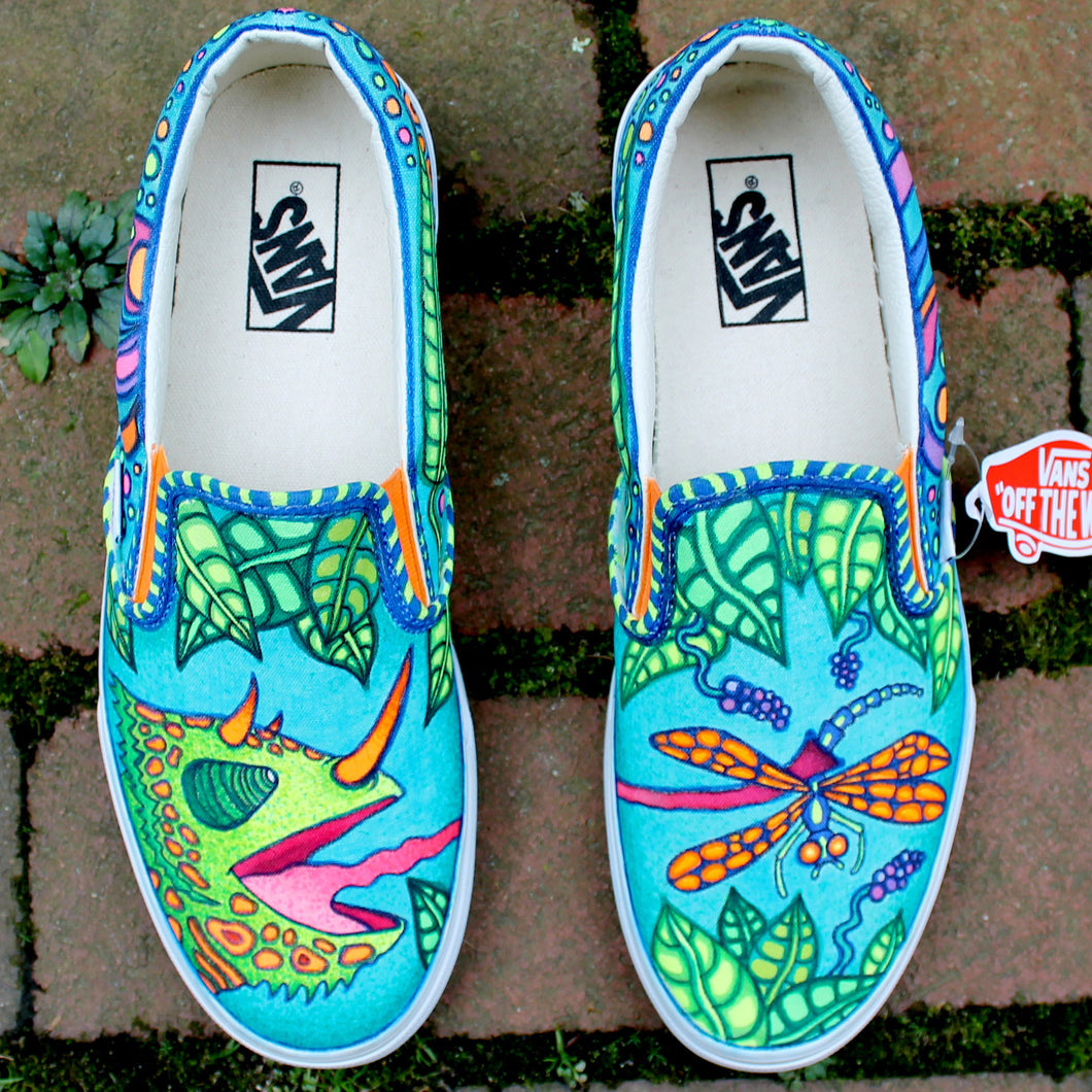 Chameleon vs Dragonfly custom Vans Slip On Sneakers - RadCakes Shirt Printing