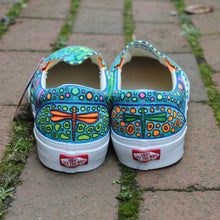 dragonfly artwork on Custom designed Vans Classic Slip on shoes