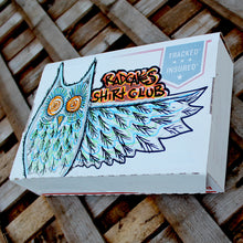 Custom owl artwork for shirt subscription box monthly delivery