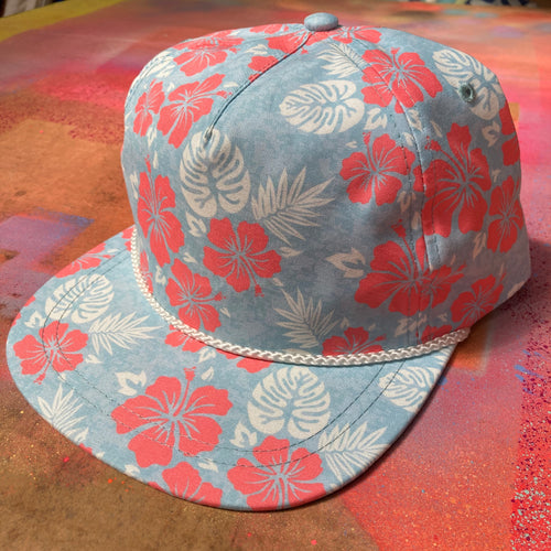 Aloha Rope Cap with Red Hibiscus Flowers