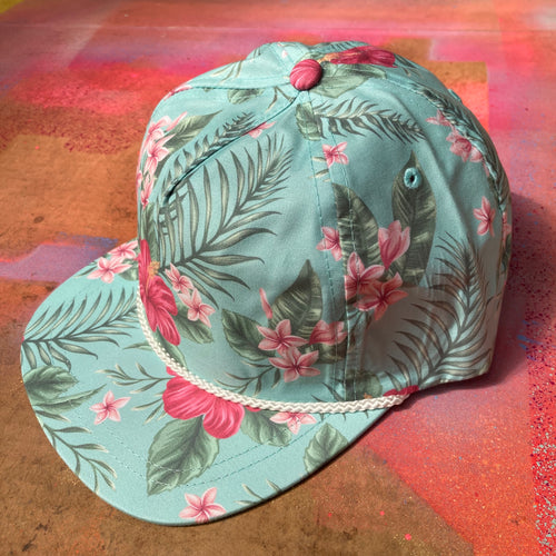 Imperial Aloha Rope Cap for sale Hawaiian Flower pattern Tropical Vibes for sale