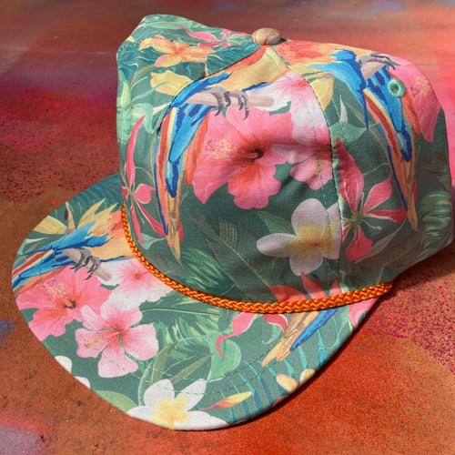 Imperial Aloha Rope Cap for sale with Hawaiian tropical parrot pattern Hawaii art fashion