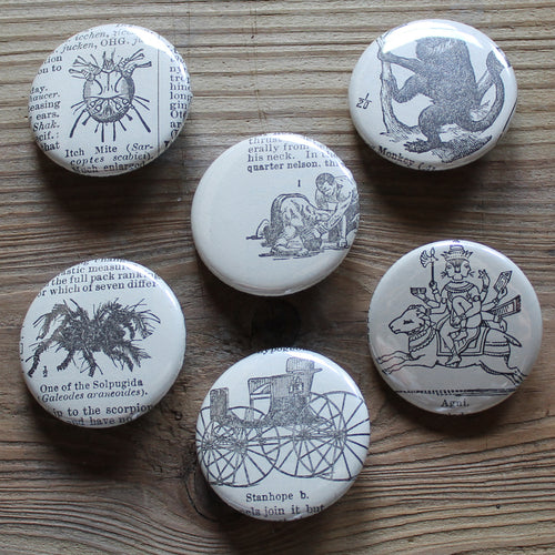 6 pinback buttons: Wrestlers, Monkey, Spider, and other antique images - RadCakes Shirt Printing