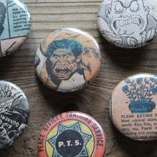 Retro underground comic book art on pinback buttons by RadCakes. For sale at the TPRFM or on our website.