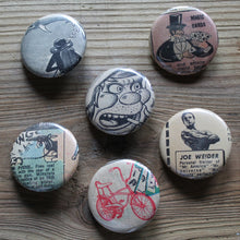 Retro underground comic book pinback buttons for sale by RadCakes
