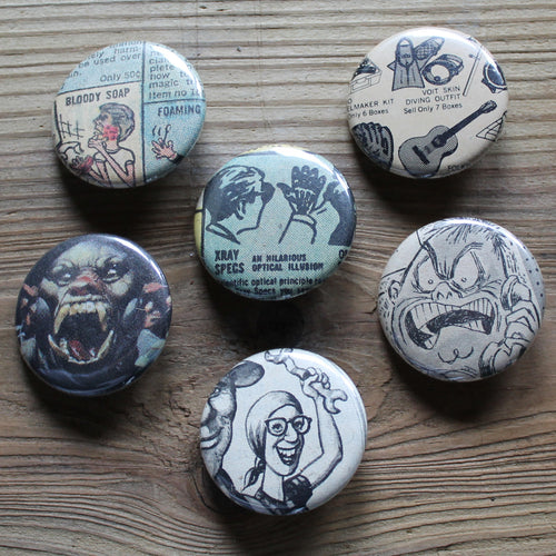 2c6ae32f6 6 Vintage Comic Book pinback buttons  X-Ray Specs
