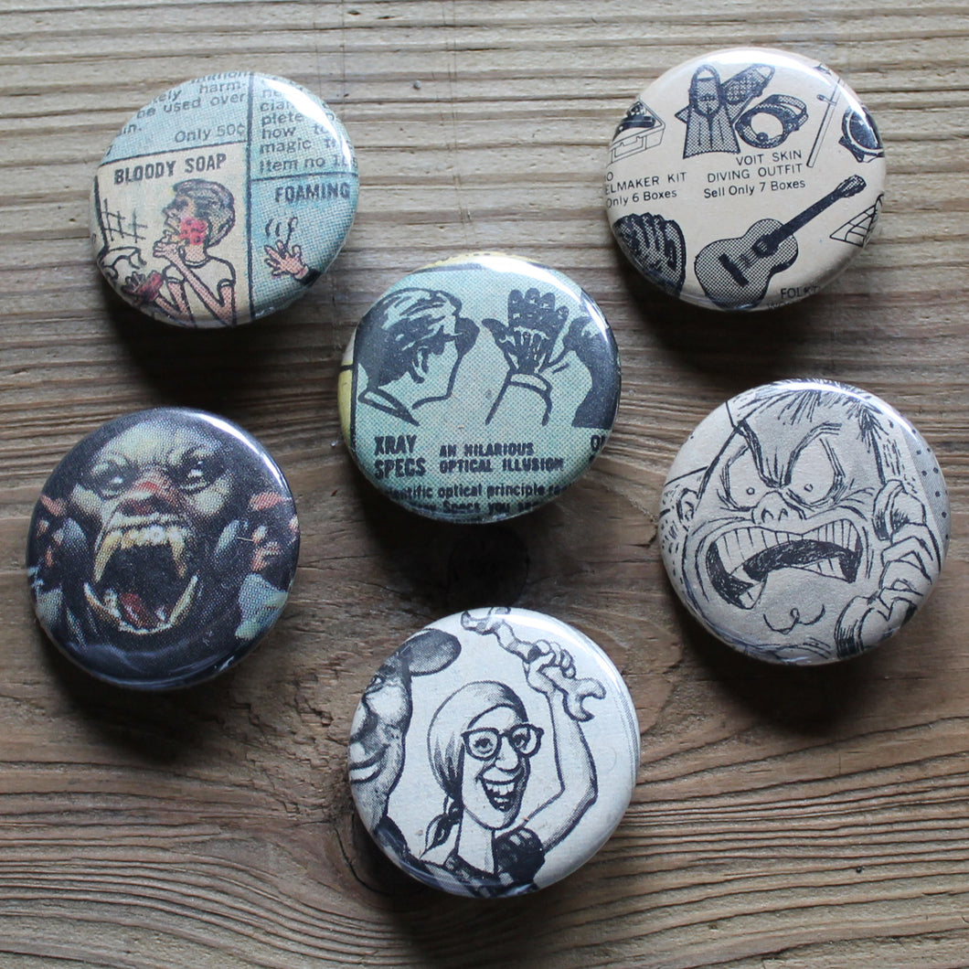 6 Vintage Comic Book pinback buttons: X-Ray Specs, Frank Frazetta, and more - RadCakes Shirt Printing