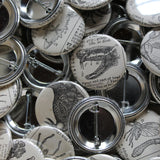 Affordable custom pinback buttons with your logo, made by RadCakes Manasquan NJ