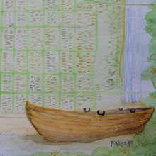 Watercolor Hankins boat old wooden Sea Girt map for sale original watercolor by Ryan Wade