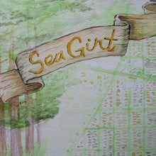 Sea Girt map print for sale featuring a watercolor birds eye view of New Jersey town