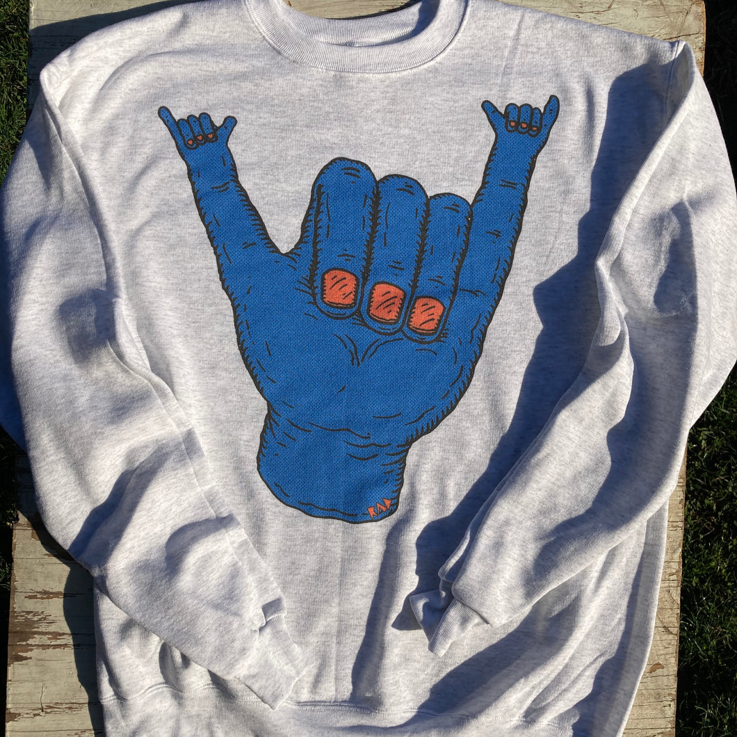 Funny Hang Loose crewneck sweatshirt design large hand RAD Shirts Hawaii skate art hand