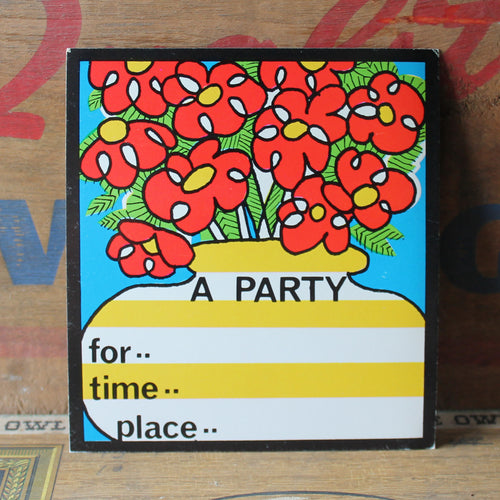 Retro Fill-in-the-blank party invite card with Red Flowers - RadCakes Shirt Printing