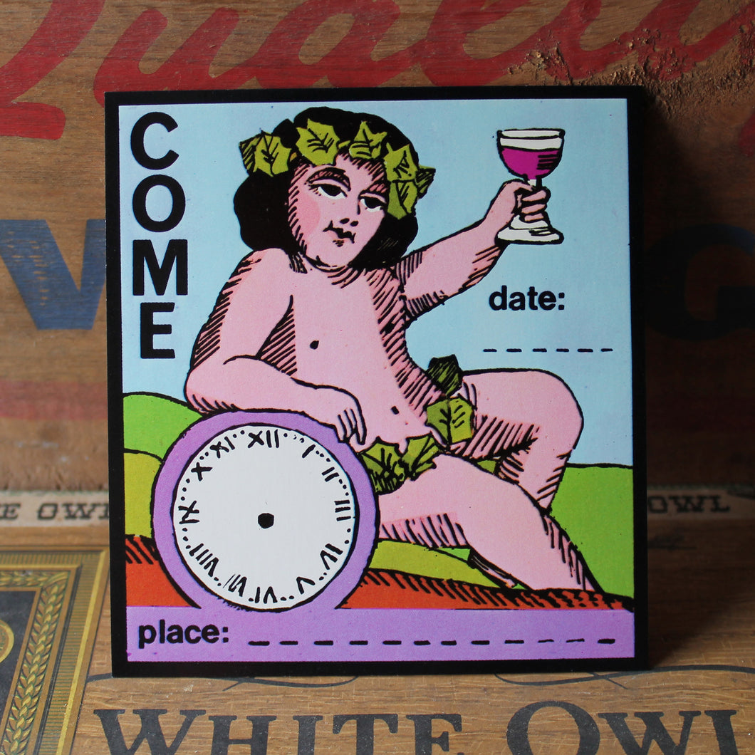Funny drinking cherub invitation card for under $1