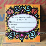 Retro 60's Floral Frame party invite card