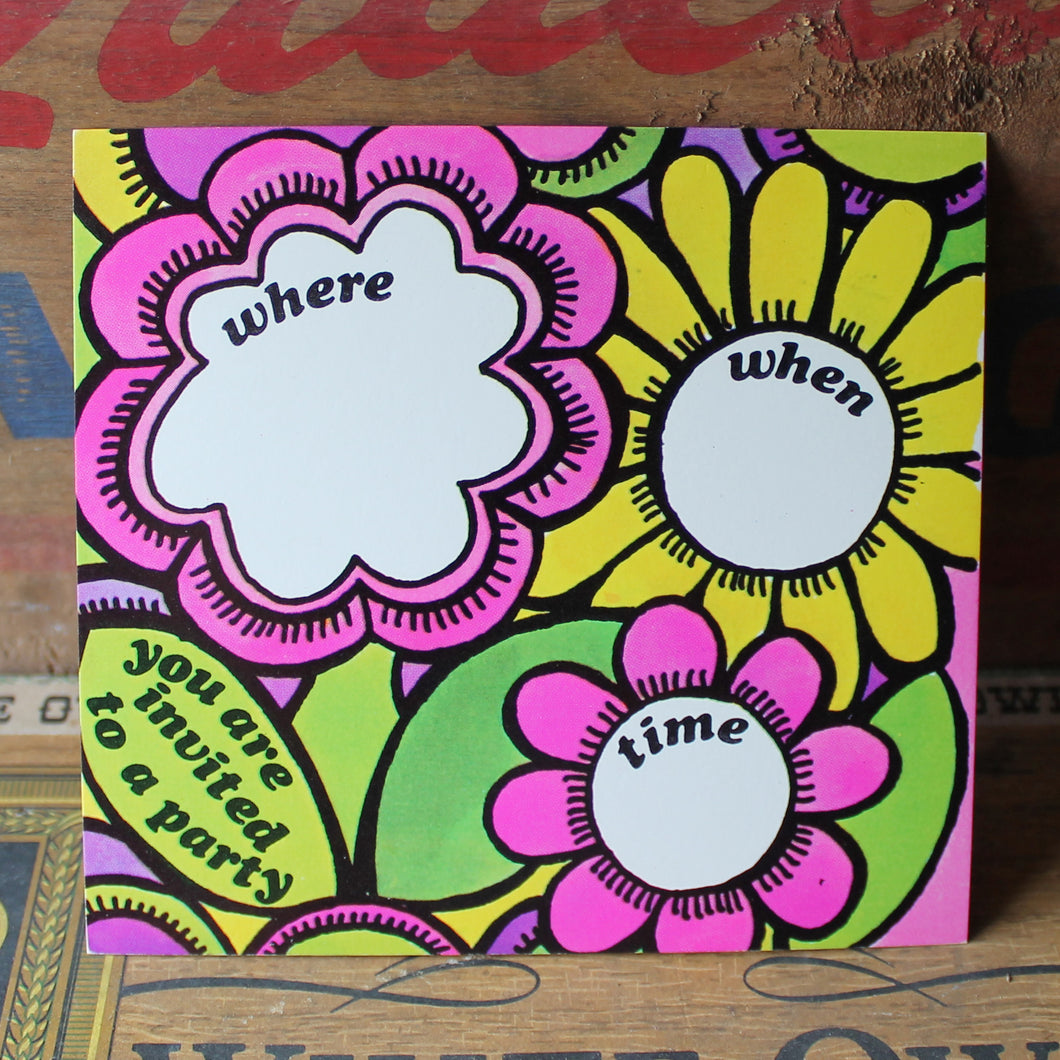 Groovy 1960's invitation card with Mod Flowers - RadCakes Shirt Printing