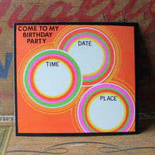 Atomic 1960's Pop Art Circles Birthday Party invite card - RadCakes Shirt Printing