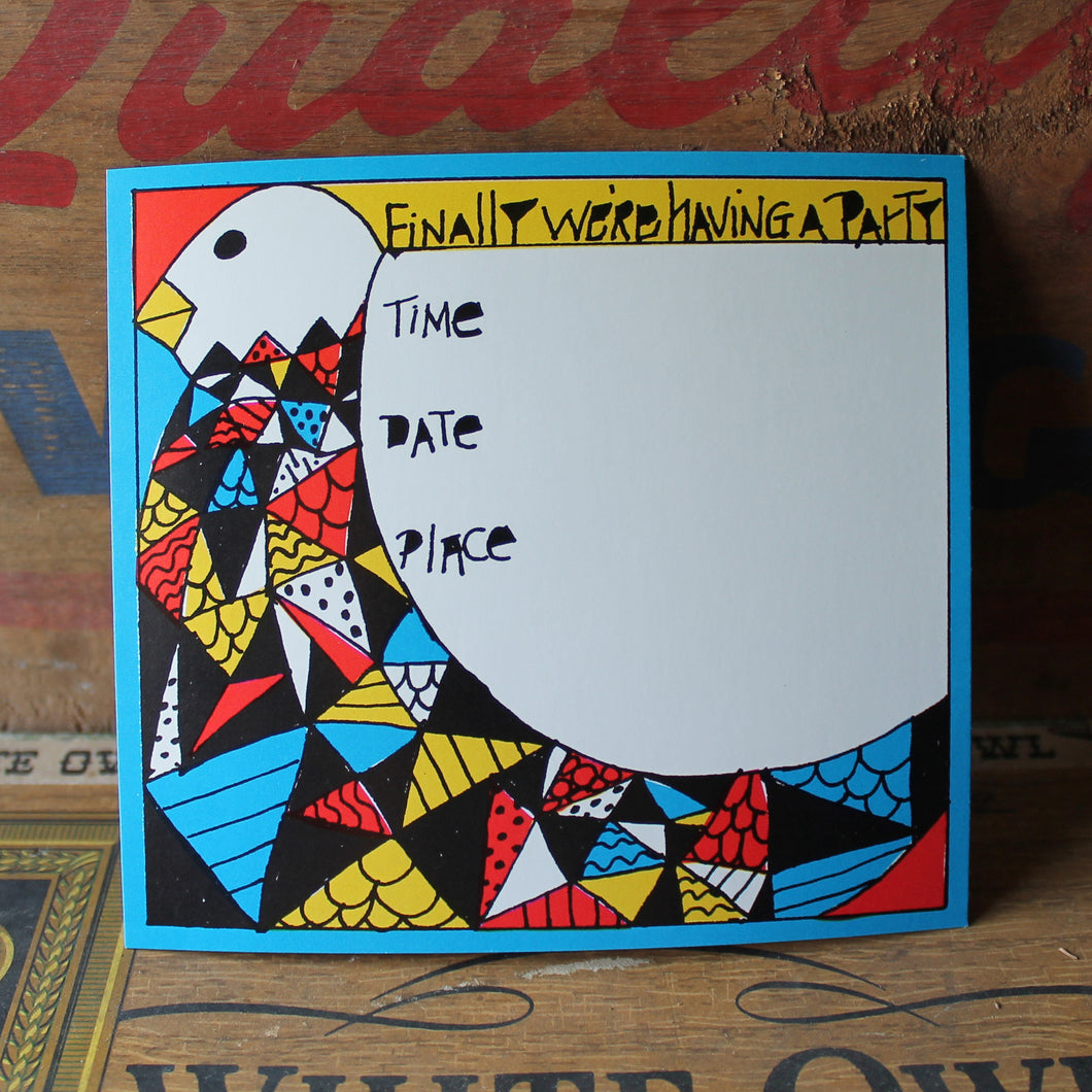 Funky Retro Bird party invitation card - RadCakes Shirt Printing