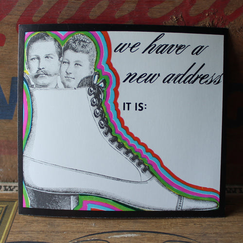 Vintage Change of Address card with Couple in a Shoe