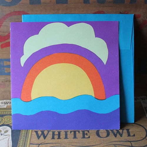 1960's Screen Printed Sun over Ocean note card - RadCakes Shirt Printing