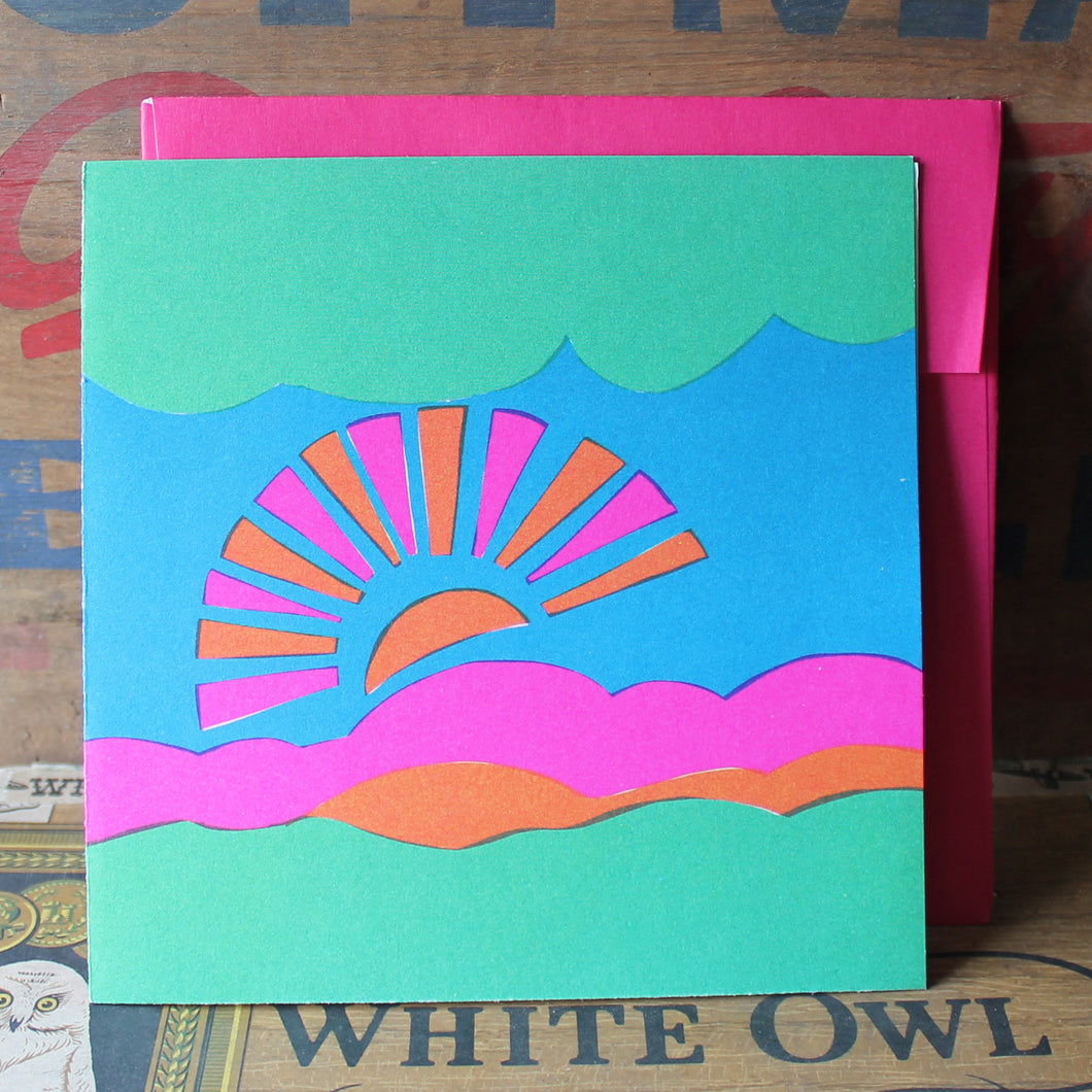 1960's Retro Pink & Orange Sun screen print note card with Envelope - RadCakes Shirt Printing