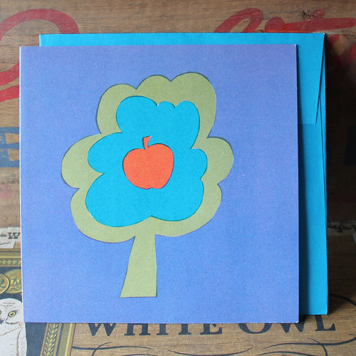 1960's Apple Tree screen print note card with envelope - RadCakes Shirt Printing