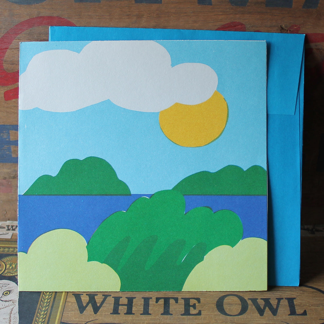 Sunny Day Lake Scene 60's screen printed note card