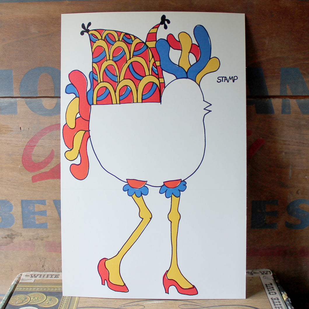 Funky Vintage 60's Bird with High Heels folding card - RadCakes Shirt Printing
