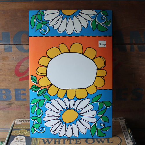 Mod Flower Power orange & blue folding notecard - RadCakes Shirt Printing