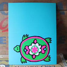 Vintage 60's Pink and Green Turtle note card