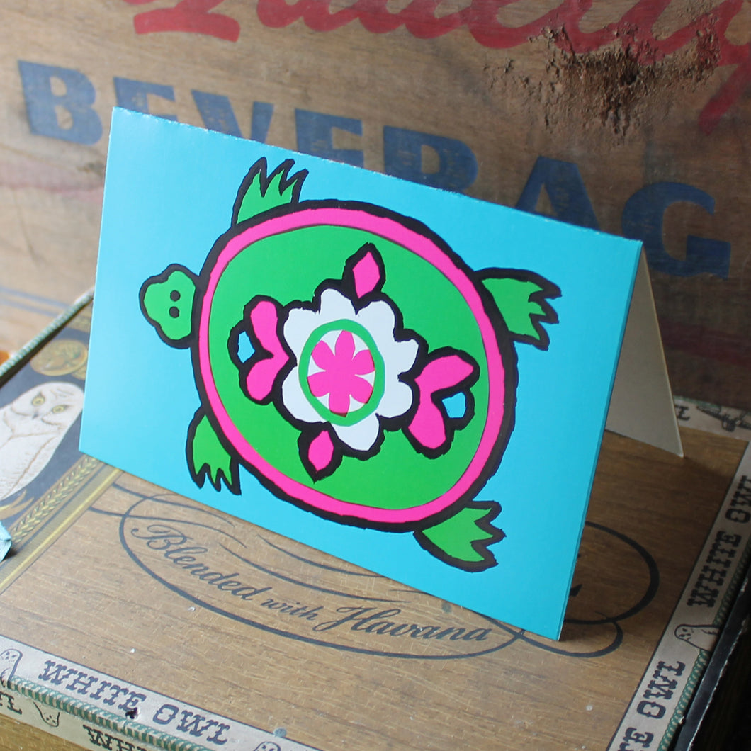 Blue and Green vintage turtle card design. New old stock by Unicorn Creations