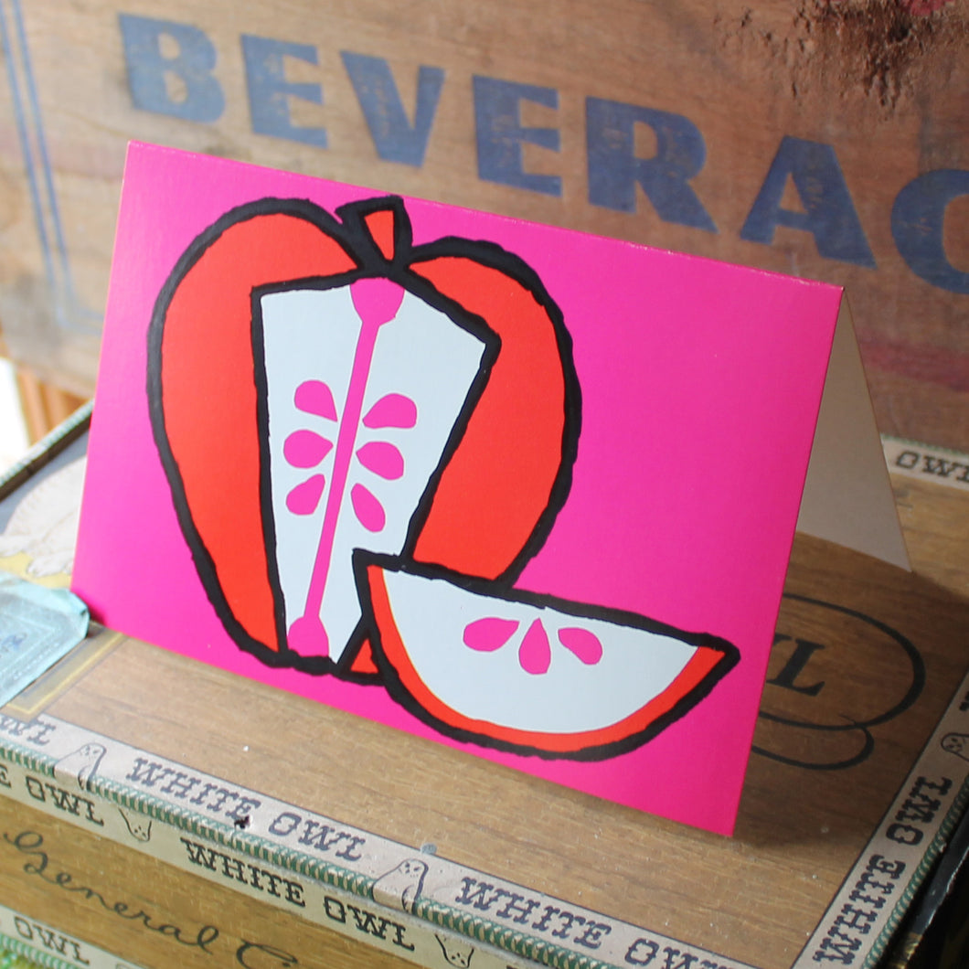 60's Mod Red Apple note card with Hot Pink background - RadCakes Shirt Printing