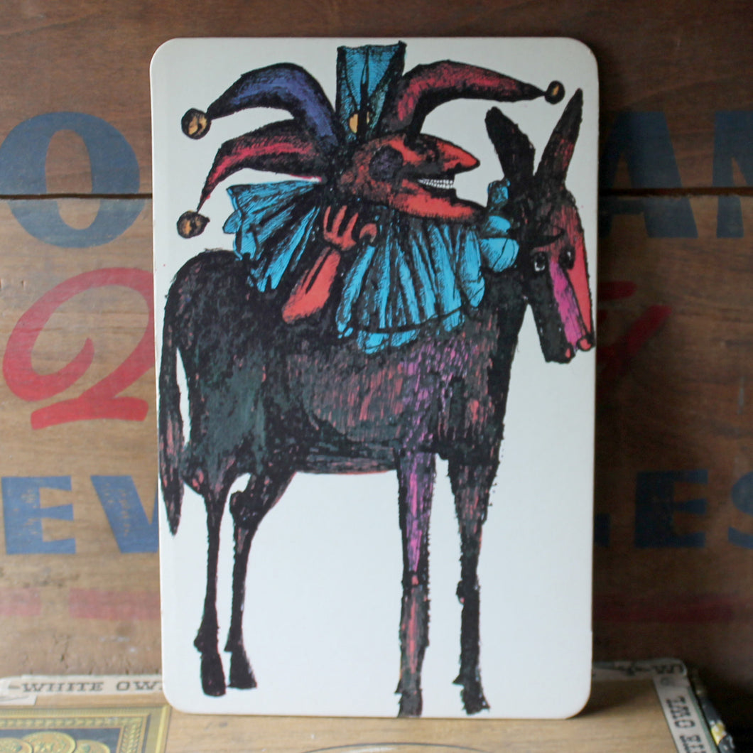 Vintage Large sized postcard with 60s artwork of jester and horse