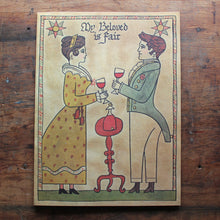 Vintage artwork man and woman note card invitation NEW OLD STOCK