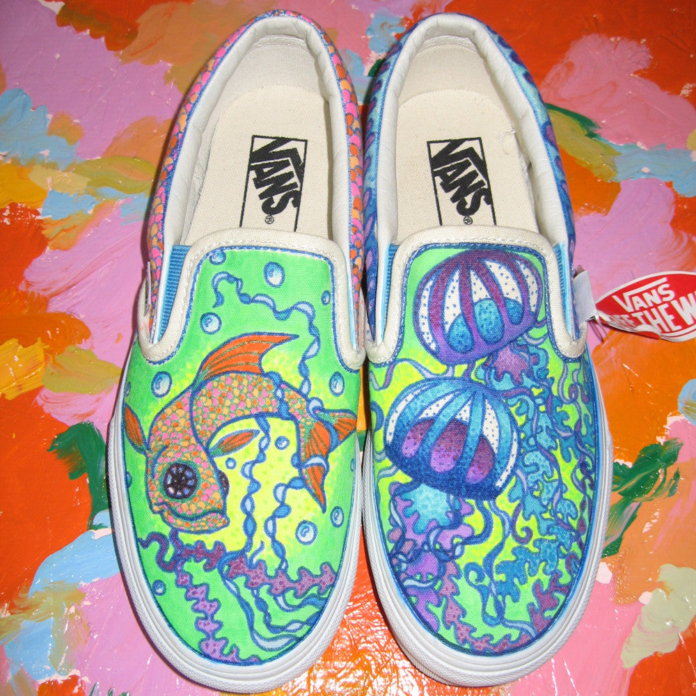Fishy custom Vans Slip On Sneakers - RadCakes Shirt Printing