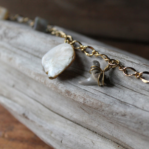 Fossil Shark tooth and Shell charm bracelet