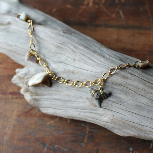 Fossil Tiger Shark Tooth and Shell charm bracelet 002 - RadCakes Shirt Printing