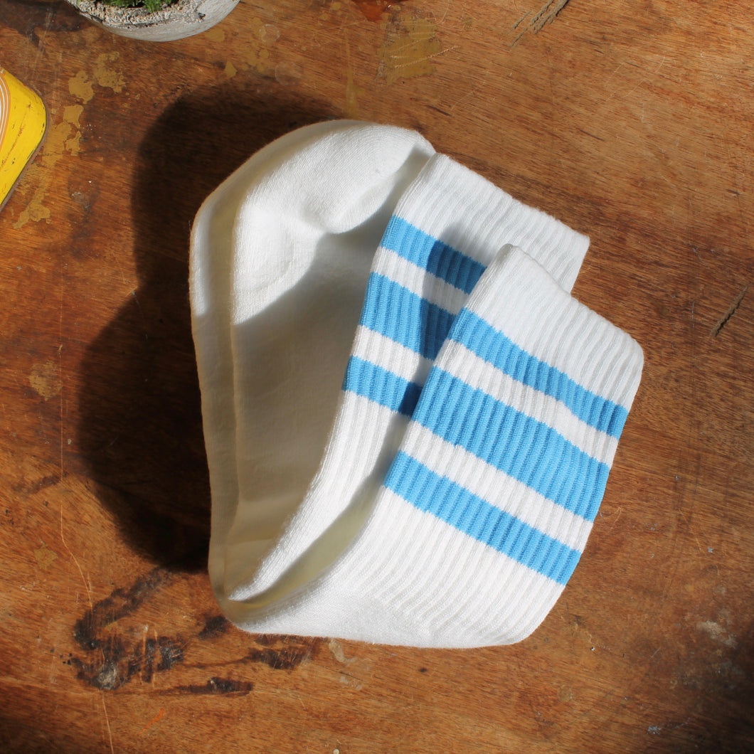 Light Blue tube socks for sale retro skateboarding style 1970s stripes
