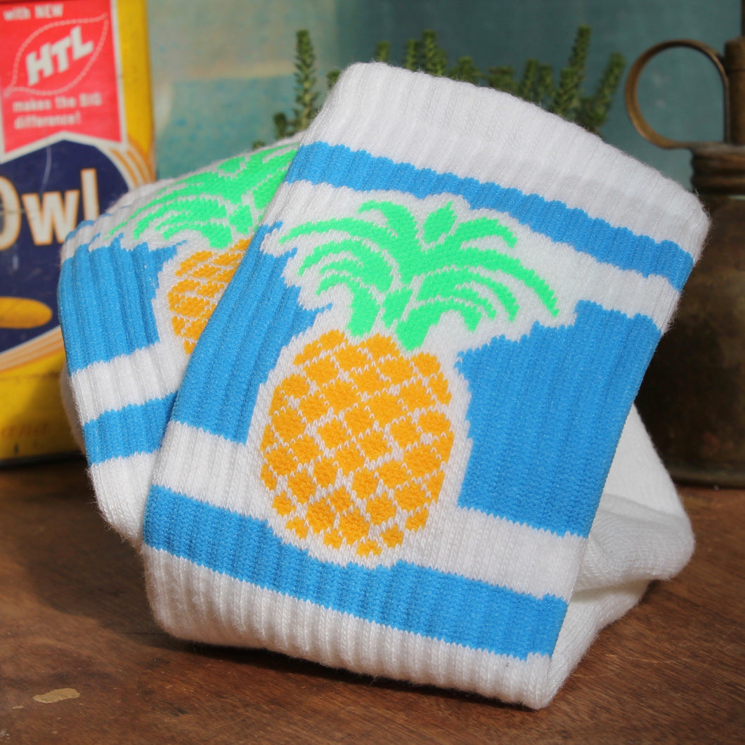 Pineapple tube socks for sale retro style funky skateboarding fashion 19870s hipster stripes