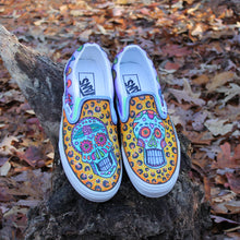 sugar skull and cheetah pattern custom designed Vans classic slip on shoes