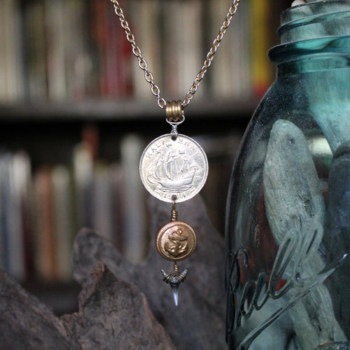 Long charm necklace with Shark Tooth & Ship Coin - RadCakes Shirt Printing
