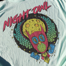 Night Owl shirt design retro 1980s style fashion tee with beer cans