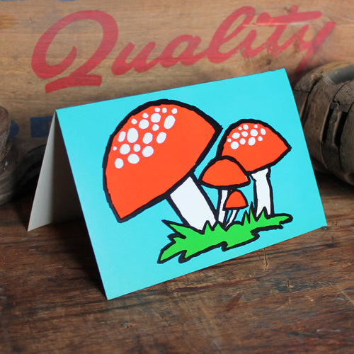 Vintage 60's Red Mushroom note card
