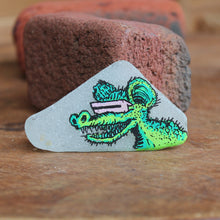 Hand painted sea glass rat fink